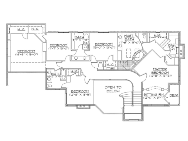 Traditional Floor Plan - Upper Floor Plan Plan #945-136