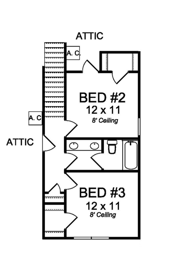 Country Floor Plan - Upper Floor Plan Plan #513-2165