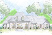 Mediterranean Style House Plan - 4 Beds 2.5 Baths 2408 Sq/Ft Plan #36-463 Exterior - Front Elevation