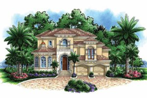 House Design - Mediterranean Exterior - Front Elevation Plan #1017-132