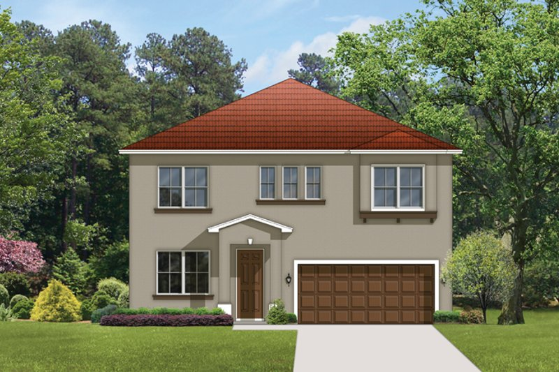 Architectural House Design - Mediterranean Exterior - Front Elevation Plan #1058-63