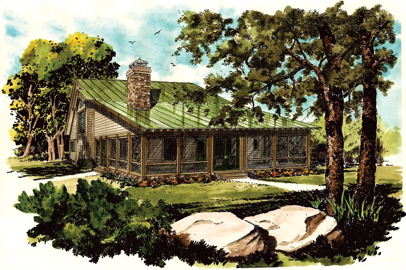 Cabin Exterior - Front Elevation Plan #942-34