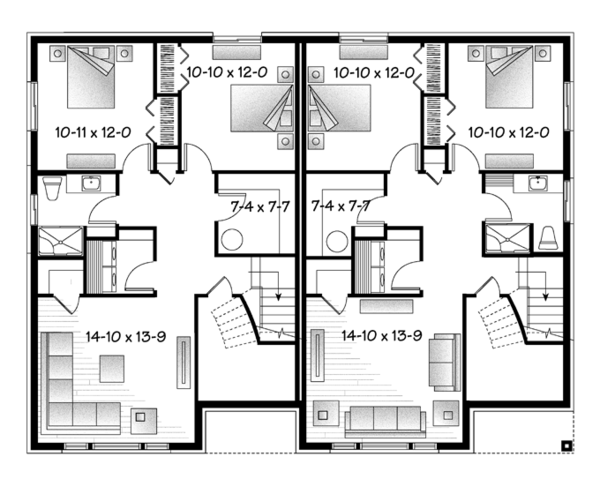 Contemporary Floor Plan - Lower Floor Plan Plan #23-2597