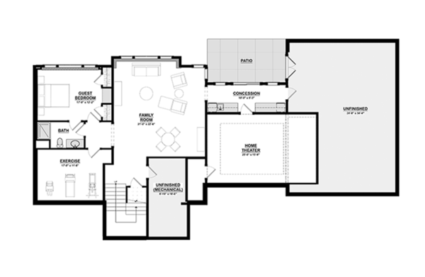 Craftsman Floor Plan - Lower Floor Plan Plan #928-277