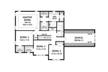 Colonial Floor Plan - Upper Floor Plan Plan #1010-58