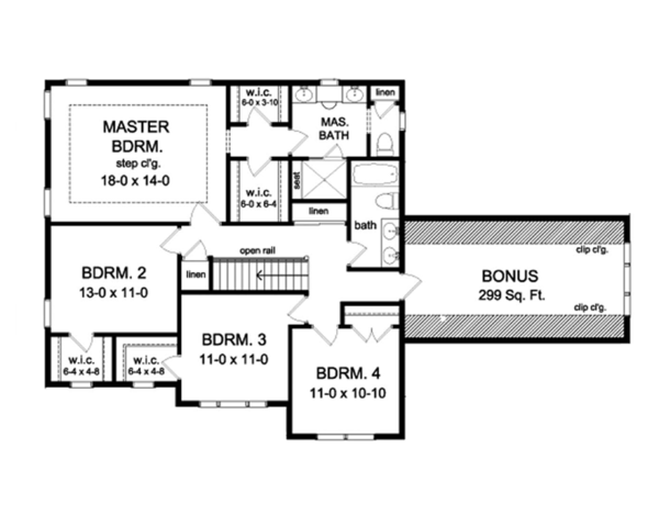 Colonial Floor Plan - Upper Floor Plan Plan #1010-58