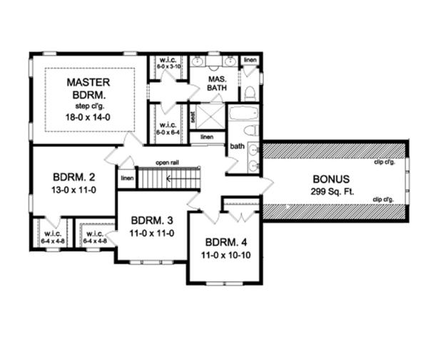 Dream House Plan - Colonial Floor Plan - Upper Floor Plan #1010-58