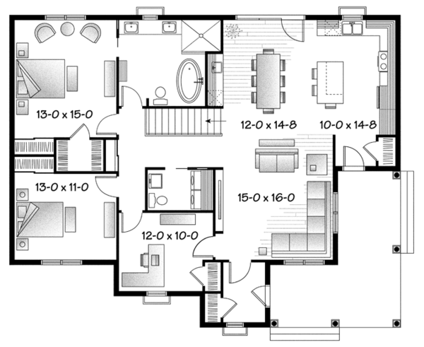 Colonial Floor Plan - Main Floor Plan Plan #23-2565