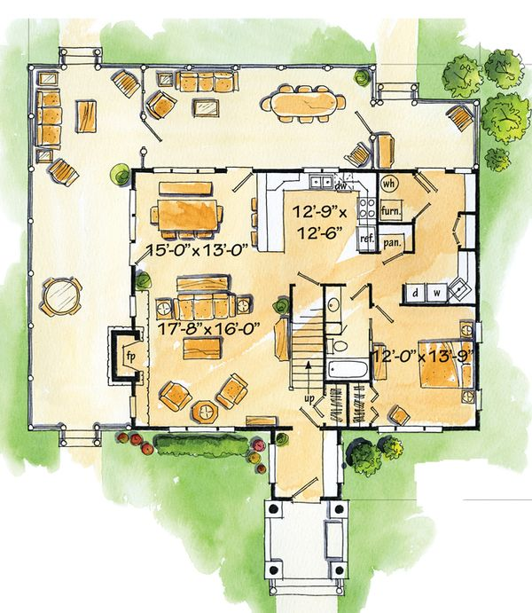 Log Floor Plan - Main Floor Plan Plan #942-18