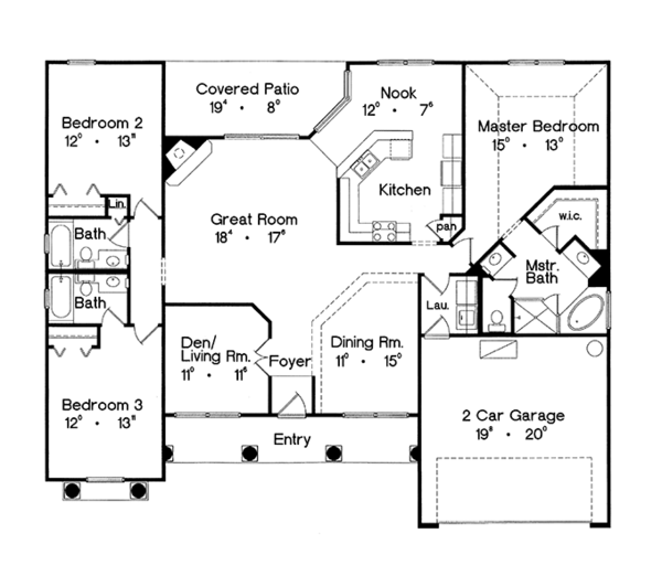 Mediterranean Floor Plan - Main Floor Plan Plan #417-803