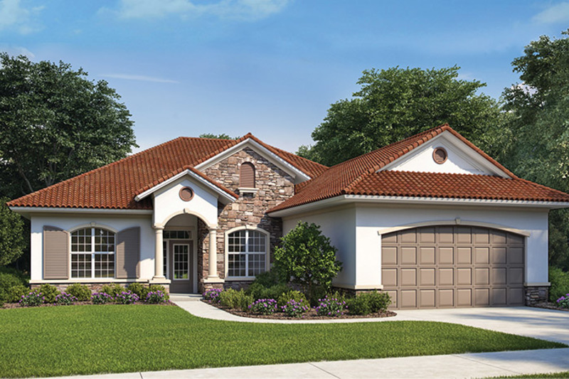 Mediterranean Exterior - Front Elevation Plan #938-73 - Houseplans.com