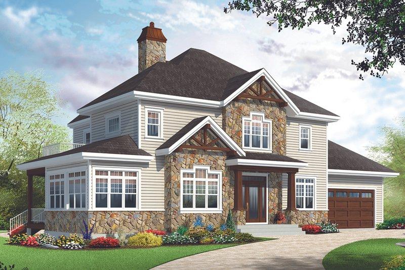 Dream House Plan - Craftsman Exterior - Front Elevation Plan #23-2707