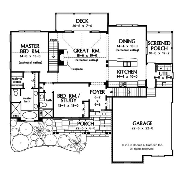 Craftsman Floor Plan - Main Floor Plan Plan #929-936