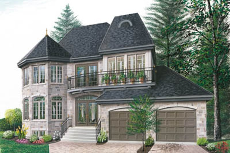 European Exterior - Front Elevation Plan #23-285 - Houseplans.com