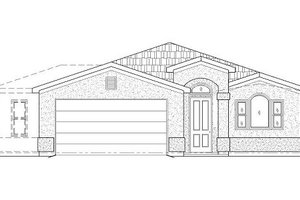 Adobe / Southwestern Exterior - Front Elevation Plan #24-292