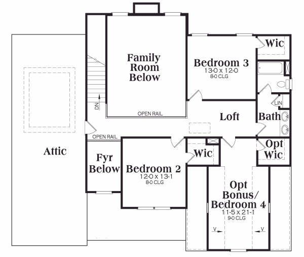 Traditional style Plan 4190118 upper floor