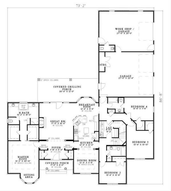 European Floor Plan - Main Floor Plan Plan #17-650