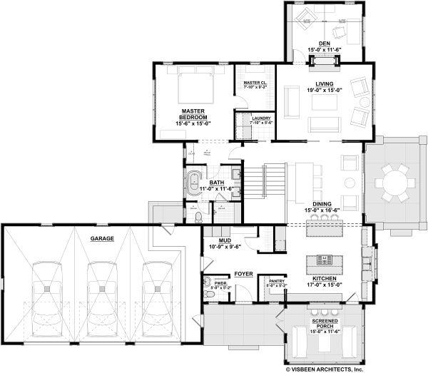 Farmhouse Floor Plan - Main Floor Plan Plan #928-324