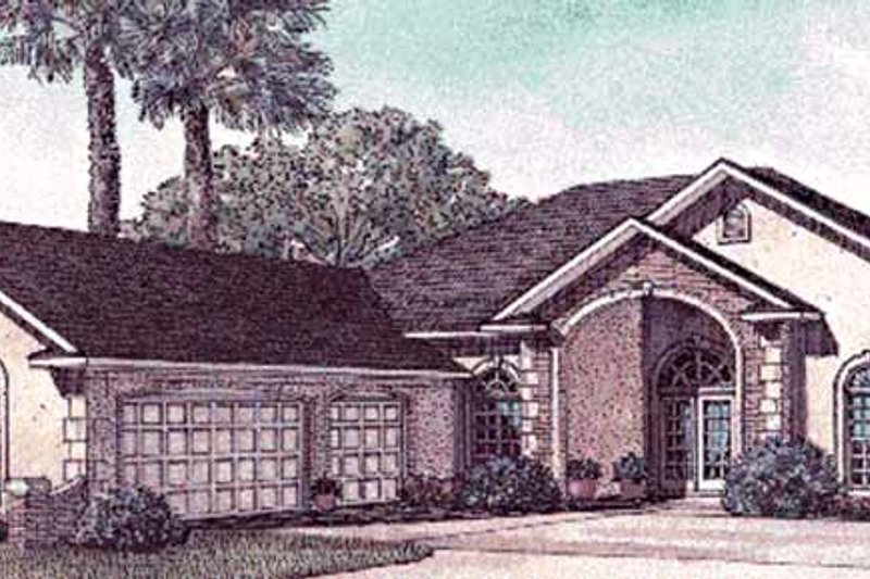European Exterior - Front Elevation Plan #17-3033