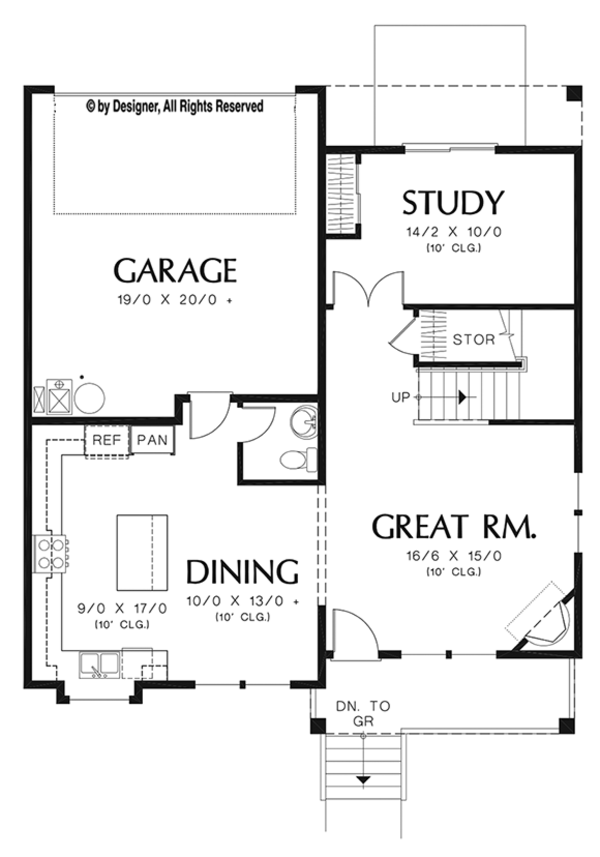 Craftsman Floor Plan - Main Floor Plan Plan #48-919