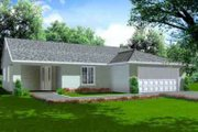 Mediterranean Style House Plan - 3 Beds 2 Baths 1929 Sq/Ft Plan #1-1378 Exterior - Front Elevation