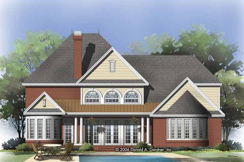 Traditional Exterior - Rear Elevation Plan #929-828 - Houseplans.com