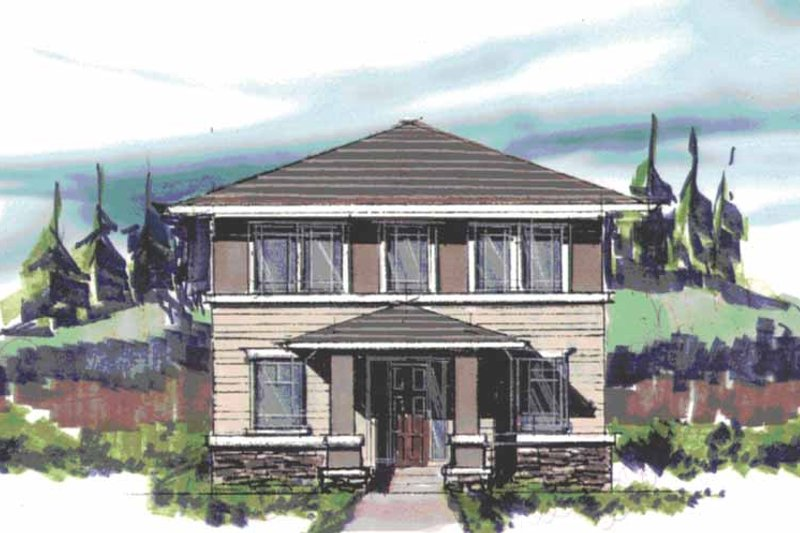 Prairie Exterior - Front Elevation Plan #509-408