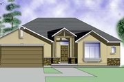 Adobe / Southwestern Style House Plan - 2 Beds 2 Baths 1320 Sq/Ft Plan #5-109 Exterior - Front Elevation