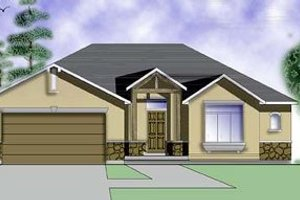 Architectural House Design - Adobe / Southwestern Exterior - Front Elevation Plan #5-109