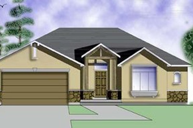 Adobe / Southwestern Exterior - Front Elevation Plan #5-109