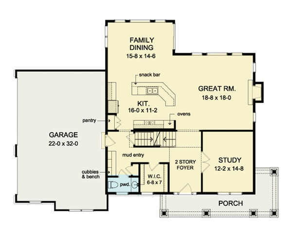 Colonial Floor Plan - Main Floor Plan Plan #1010-38