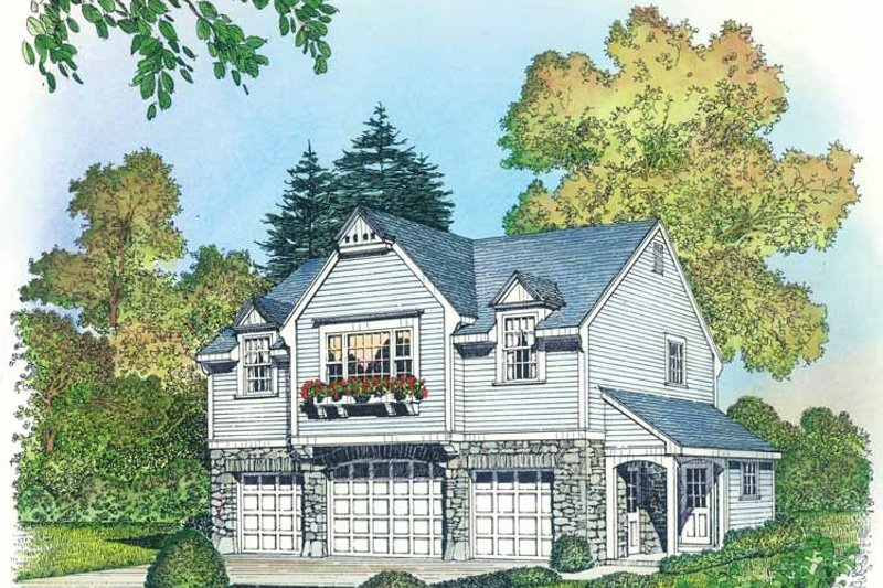 Colonial Exterior - Front Elevation Plan #1016-89