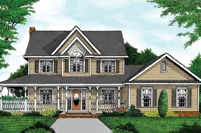 Architectural House Design - Country Exterior - Front Elevation Plan #11-267
