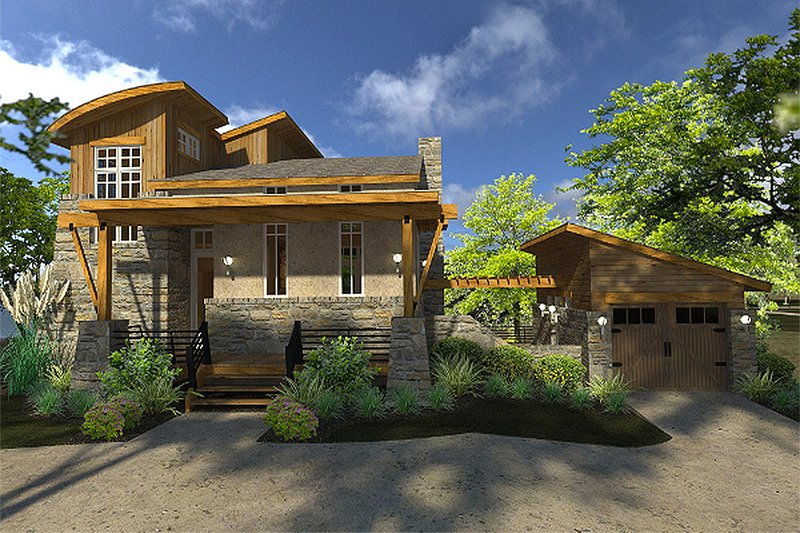 Dream House Plan - Contemporary Exterior - Front Elevation Plan #120-190
