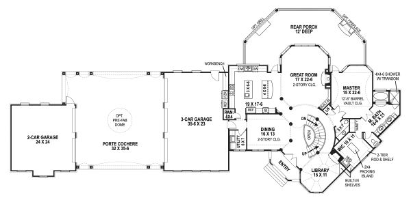 European Floor Plan - Main Floor Plan Plan #119-432