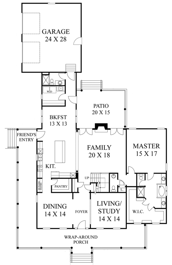 Colonial Floor Plan - Main Floor Plan Plan #1053-56