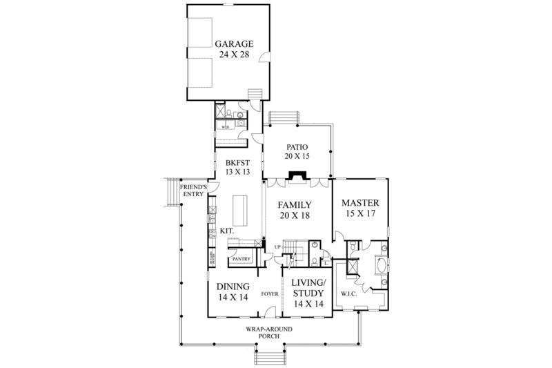 Colonial Floor Plan - Main Floor Plan Plan #1053-56