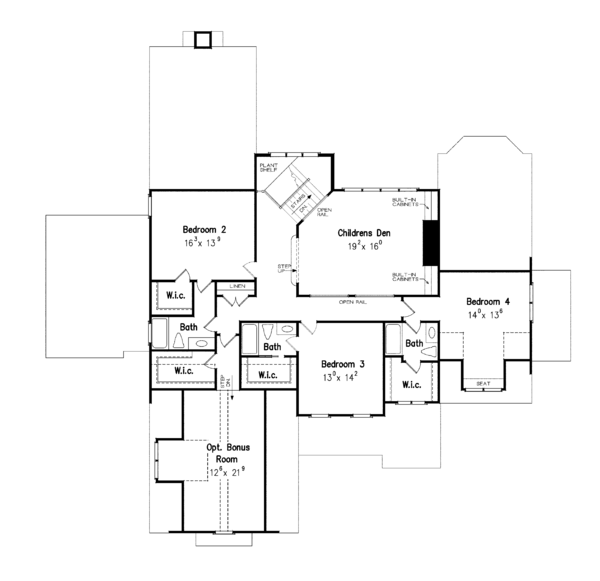 Traditional Floor Plan - Upper Floor Plan Plan #927-346