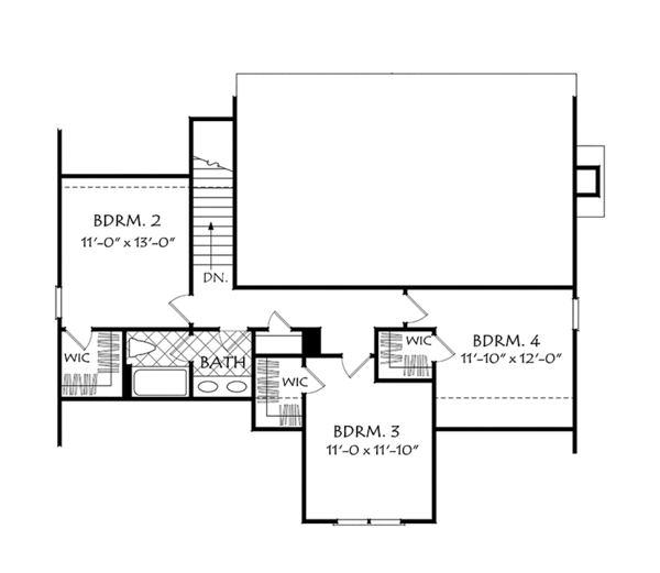 European Floor Plan - Upper Floor Plan Plan #927-965