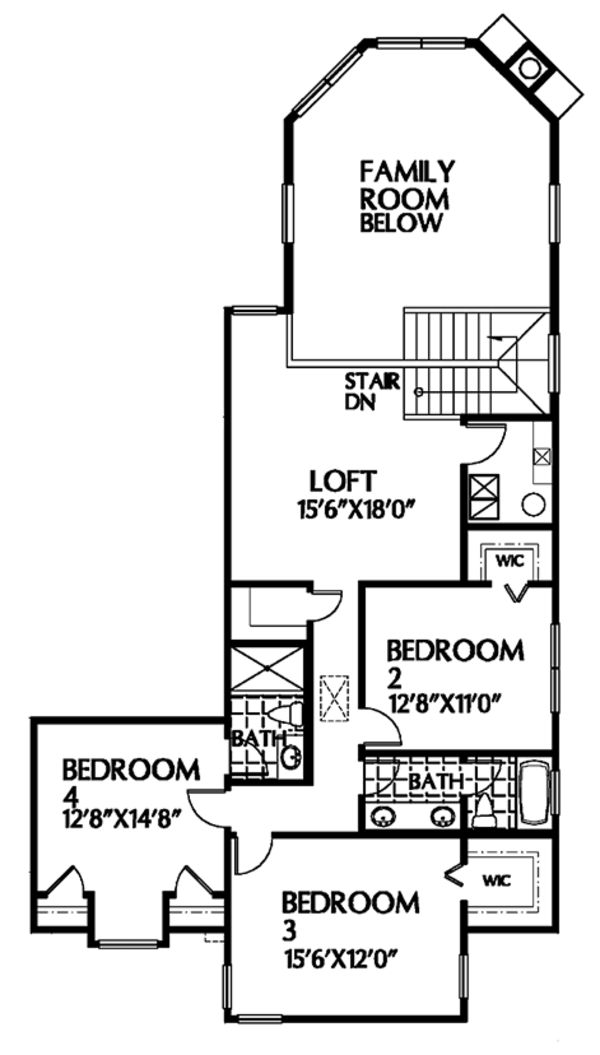 Mediterranean Floor Plan - Upper Floor Plan Plan #999-22