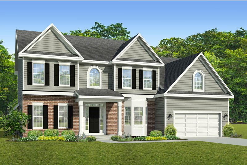 Colonial Exterior - Front Elevation Plan #1010-214