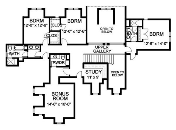 Traditional Floor Plan - Upper Floor Plan Plan #490-10