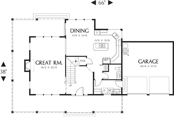Main level floor plan - 2200 square foot Country home