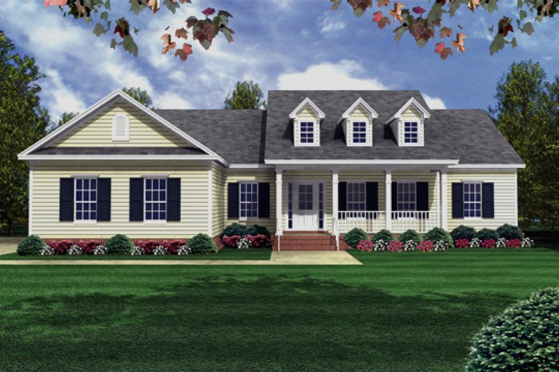 Traditional Style House Plan - 3 Beds 3 Baths 1800 Sq/Ft Plan #21-147 Exterior - Front Elevation