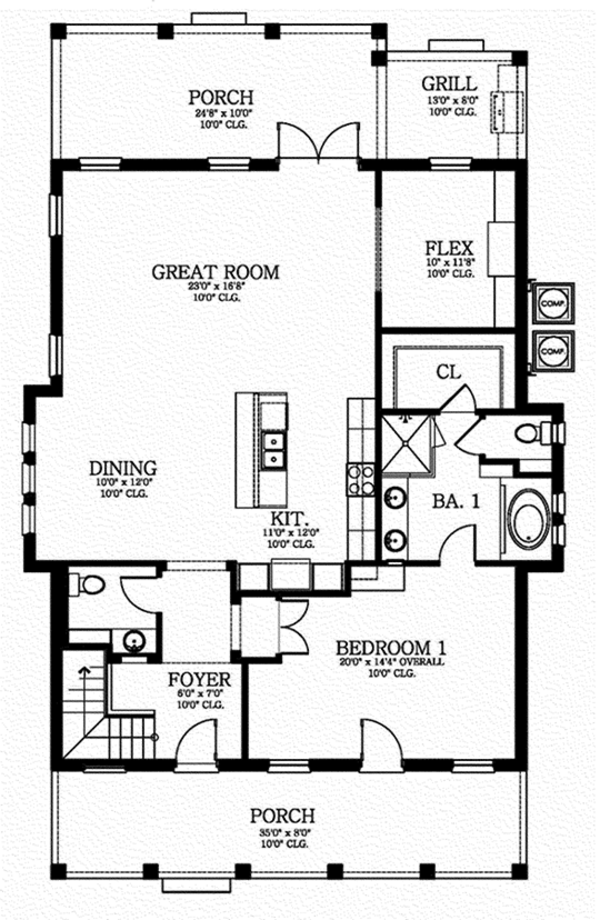 Southern Floor Plan - Main Floor Plan Plan #1058-75
