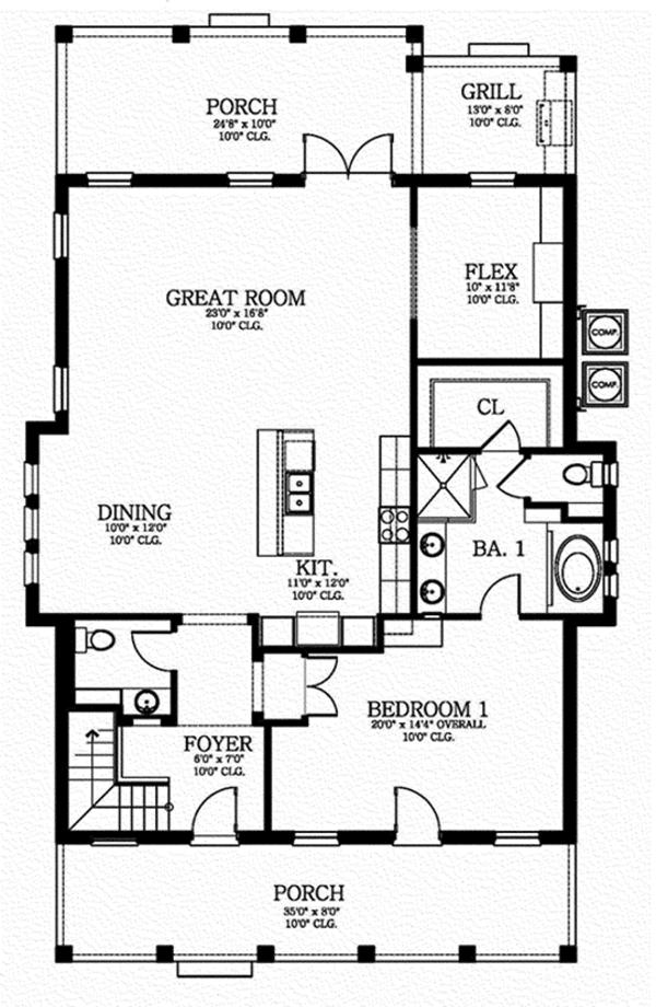 Southern Floor Plan - Main Floor Plan Plan #1058-75