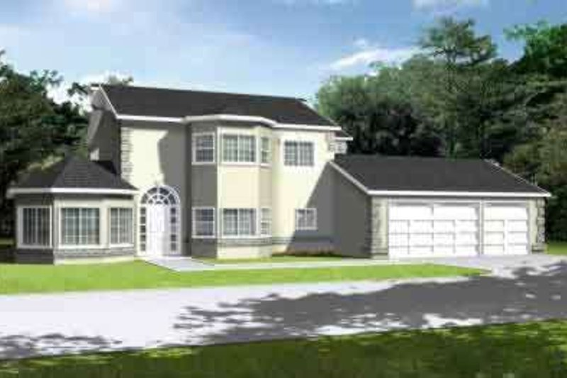European Style House Plan - 5 Beds 3 Baths 3022 Sq/Ft Plan #1-749 Exterior - Front Elevation