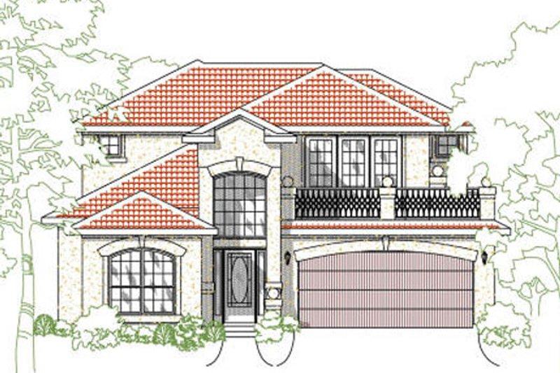 House Plan Design - Mediterranean Exterior - Front Elevation Plan #80-153
