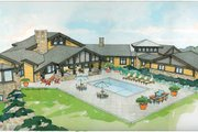 Prairie Style House Plan - 4 Beds 4 Baths 8077 Sq/Ft Plan #928-62 Exterior - Rear Elevation