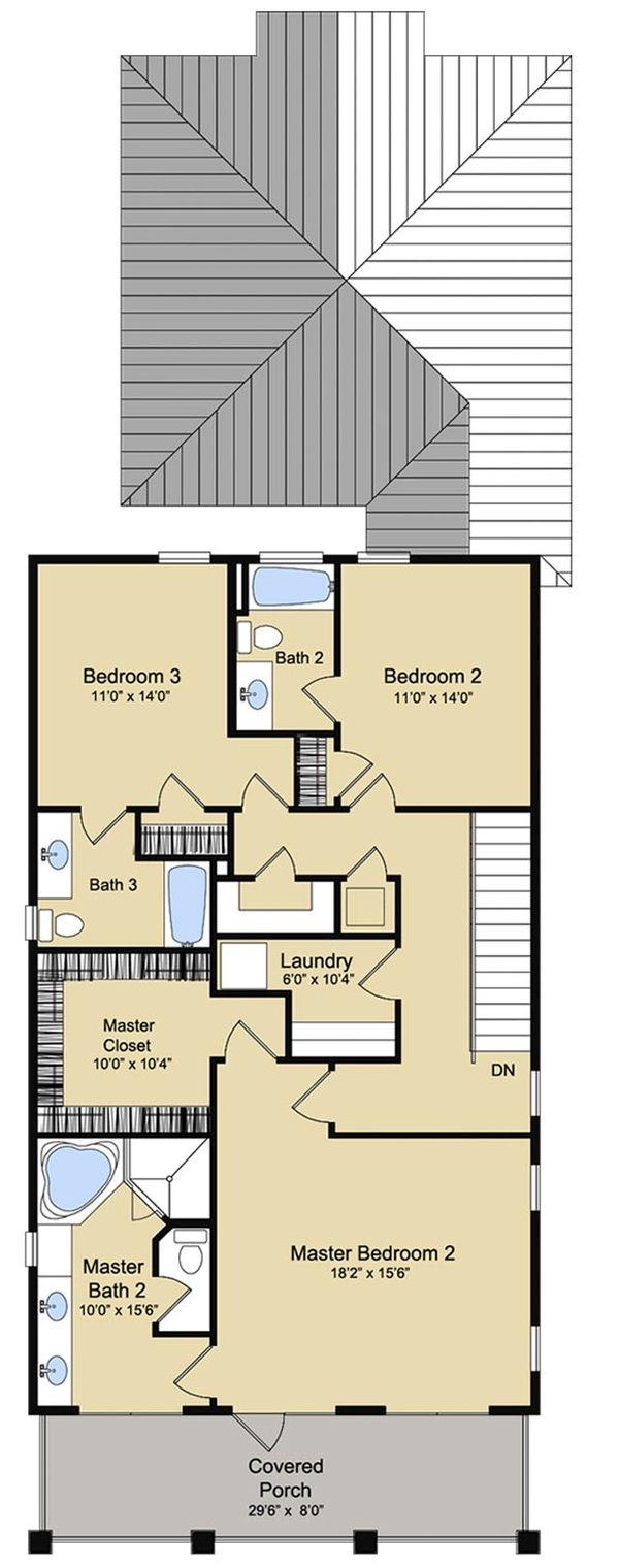 Beach Floor Plan - Upper Floor Plan Plan #430-120